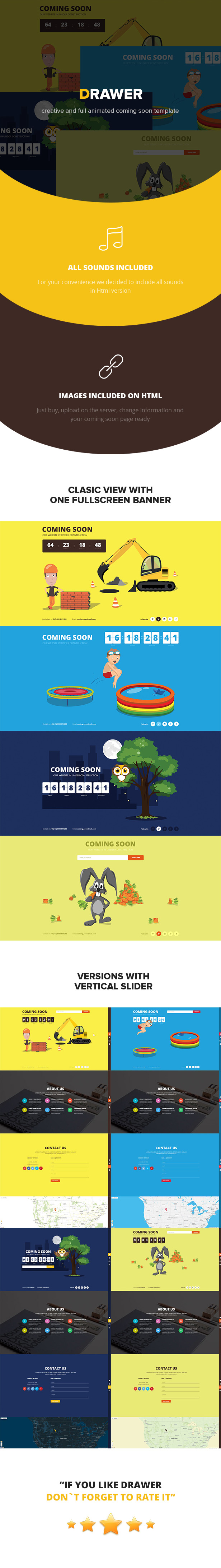 Drawer - Responsive Animated Coming Soon Template - 1
